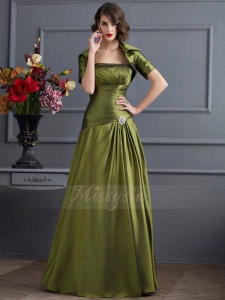 A-Line/Princess Sleeveless Floor-Length Taffeta Strapless Beading Dresses