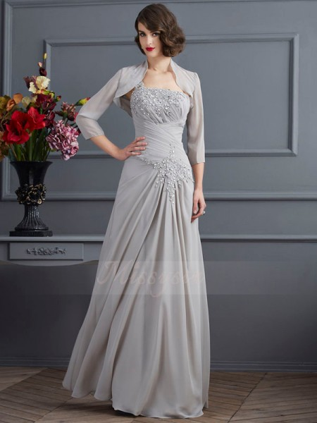 A-Line/Princess Sleeveless Floor-Length Chiffon One-Shoulder Beading,Applique Mother Of The Bride Dresses