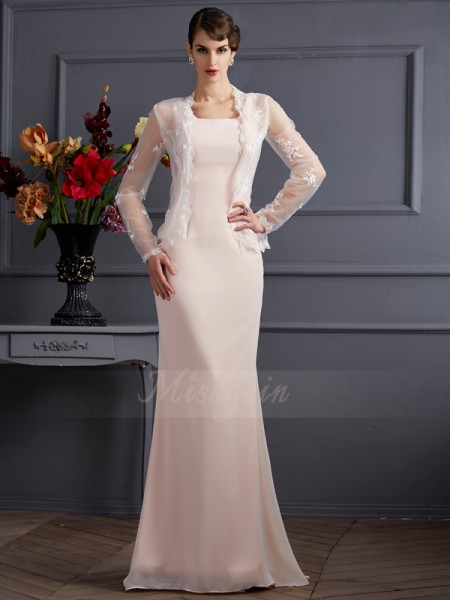 Sheath/Column Sleeveless Floor-Length Chiffon Square Mother Of The Bride Dresses
