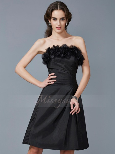 Sheath/Column Sleeveless Knee-Length Taffeta Strapless Hand-Made Flower Dresses