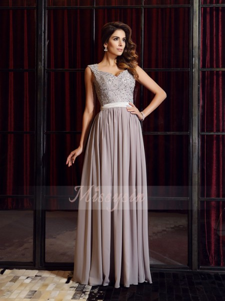 A-Line/Princess Sleeveless Straps Applique Floor-Length Chiffon Dresses