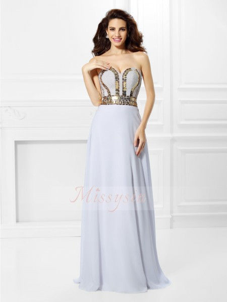 Empire Sleeveless Sweetheart Pleats Floor-Length Chiffon Dresses