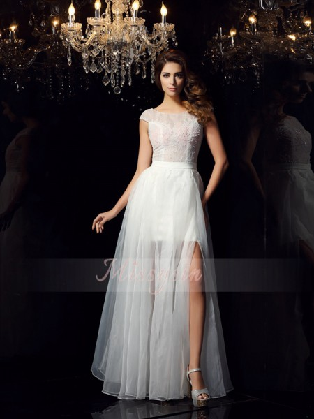 A-Line/Princess Short Sleeves Scoop Beading Floor-Length Tulle Dresses