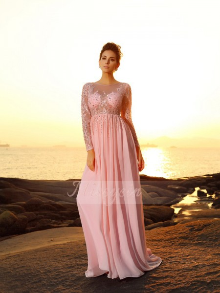 A-Line/Princess Long Sleeves Bateau Beading Sweep/Brush Train Chiffon Dresses