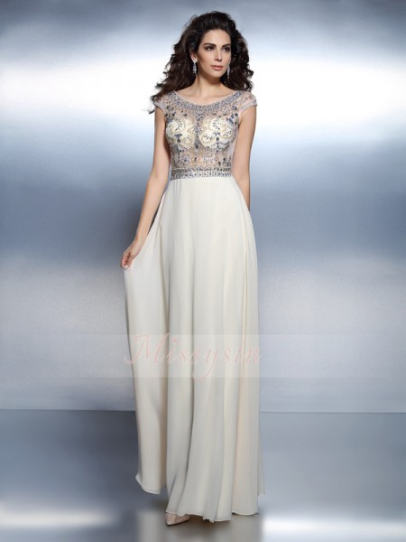 A-Line/Princess Short Sleeves Bateau Beading Floor-Length Chiffon Dresses