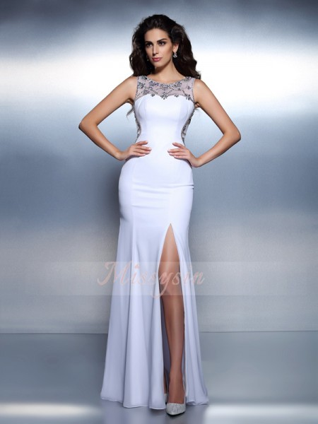 Trumpet/Mermaid Sleeveless Bateau Beading Floor-Length Chiffon Dresses