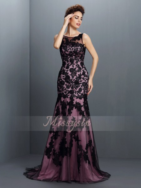 Trumpet/Mermaid Sleeveless Bateau Applique Sweep/Brush Train Elastic Woven Satin Dresses
