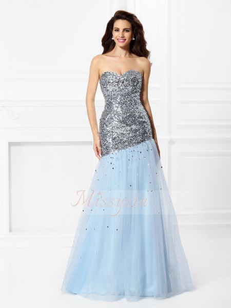 Trumpet/Mermaid Sleeveless Sweetheart Sequin Floor-Length Satin Dresses