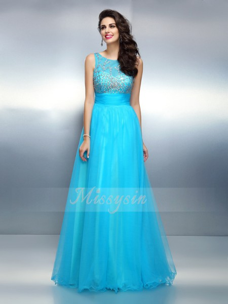 A-Line/Princess Sleeveless Bateau Beading Floor-Length Elastic Woven Satin Dresses