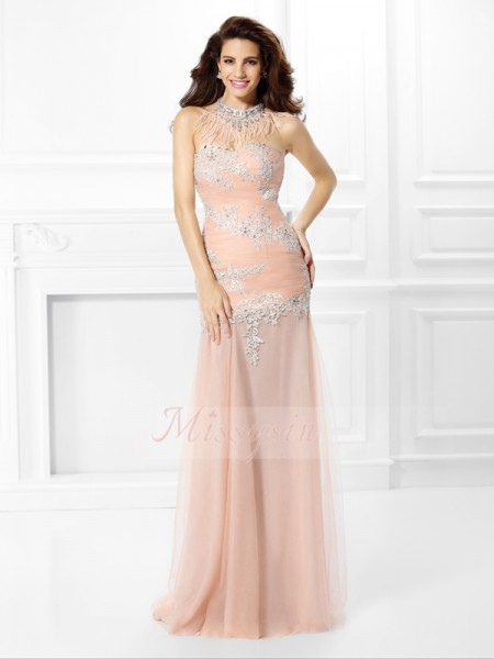 Trumpet/Mermaid Sleeveless Sweetheart Applique,Lace Floor-Length Chiffon Dresses