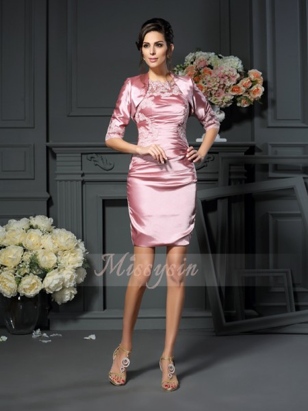 Sheath/Column Sleeveless Scoop Applique Short/Mini Elastic Woven Satin Mother Of The Bride Dresses