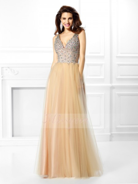 Ball Gown Sleeveless V-neck Beading,Sequin Floor-Length Satin Dresses