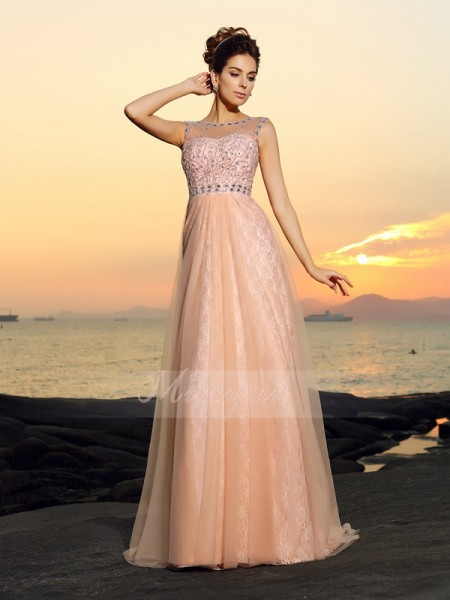 A-Line/Princess Sleeveless Bateau Floor-Length Chiffon Dresses