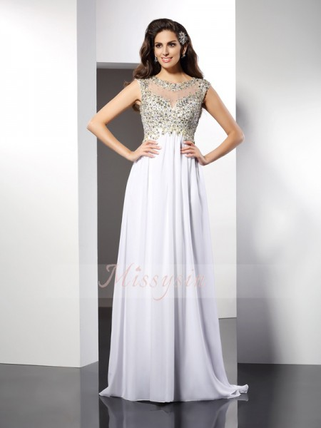 A-Line/Princess Sleeveless Bateau Ruffles Floor-Length Chiffon Dresses