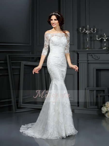 Sheath/Column 1/2 Sleeves Off-the-Shoulder Sweep/Brush Train Lace Wedding Dresses