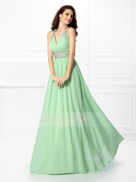 A-Line/Princess Sleeveless V-neck,Straps Beading Floor-Length Chiffon Dresses