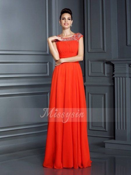 A-Line/Princess Sleeveless Bateau Beading Floor-Length Chiffon Dresses