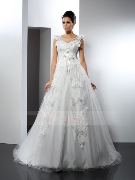 A-Line/Princess Sleeveless Straps Cathedral Train Satin Wedding Dresses