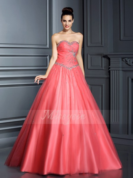 Ball Gown Sleeveless Sweetheart Beading Floor-Length Net Dresses