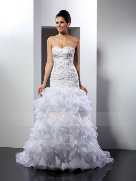 Trumpet/Mermaid Sleeveless Sweetheart Beading Chapel Train Organza Wedding Dresses