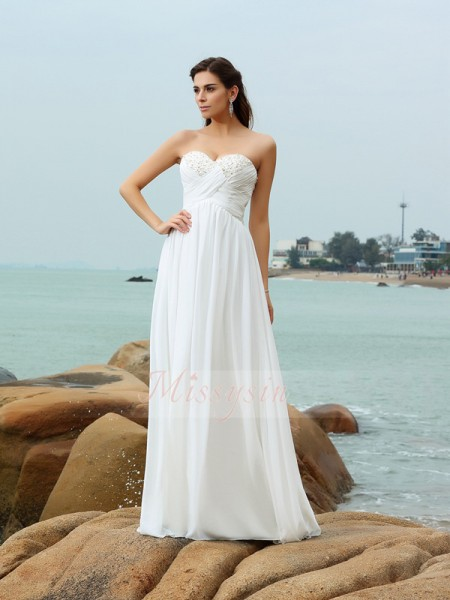 A-Line/Princess Sleeveless Sweetheart Beading Sweep/Brush Train Chiffon Wedding Dresses