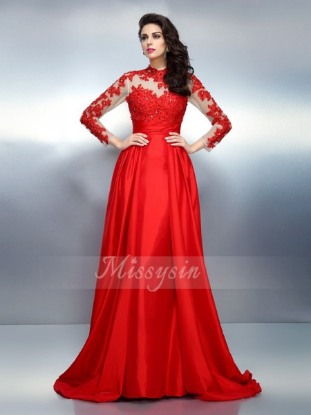 A-Line/Princess Long Sleeves High Neck Applique Sweep/Brush Train Satin Dresses
