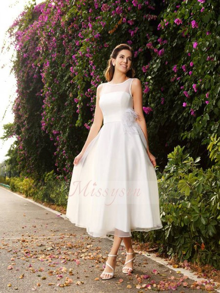 A-Line/Princess Sleeveless Bateau Sash/Ribbon/Belt Ankle-Length Satin Wedding Dresses