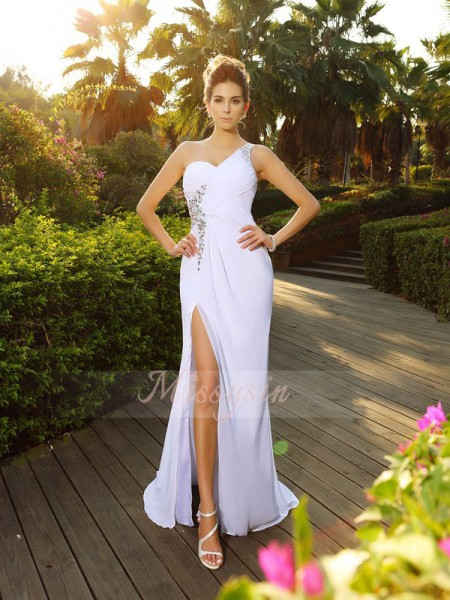 A-Line/Princess Sleeveless One-Shoulder Beading Court Train Chiffon Wedding Dresses