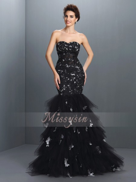 Trumpet/Mermaid Sleeveless Sweetheart Paillette Floor-Length Net Dresses