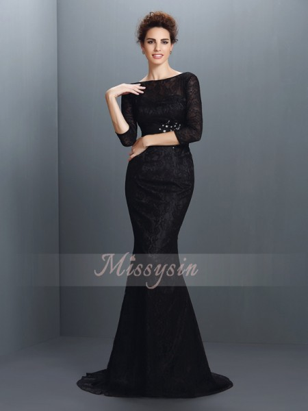 Trumpet/Mermaid 3/4 Sleeves Bateau Sweep/Brush Train Elastic Woven Satin Dresses