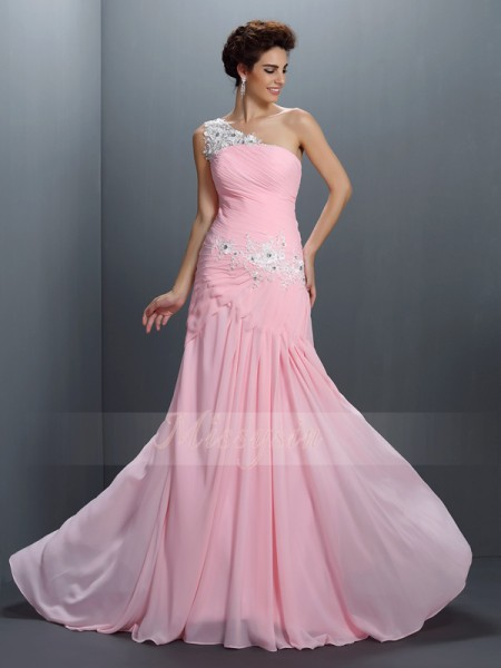 A-Line/Princess Sleeveless One-Shoulder Beading,Applique Floor-Length Chiffon Dresses