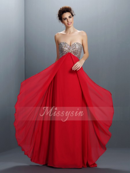 A-Line/Princess Sleeveless Sweetheart Beading,Paillette Floor-Length Chiffon Dresses