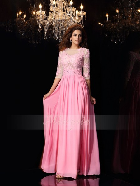 A-Line/Princess 1/2 Sleeves Scoop Applique Floor-Length Silk like Satin Dresses