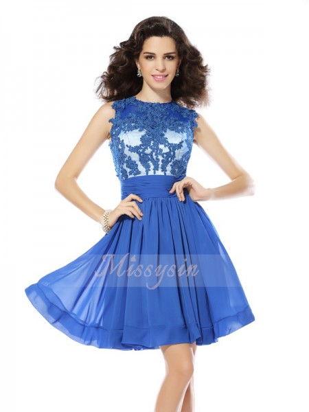 A-Line/Princess Sleeveless Scoop Applique Short/Mini Chiffon Dresses