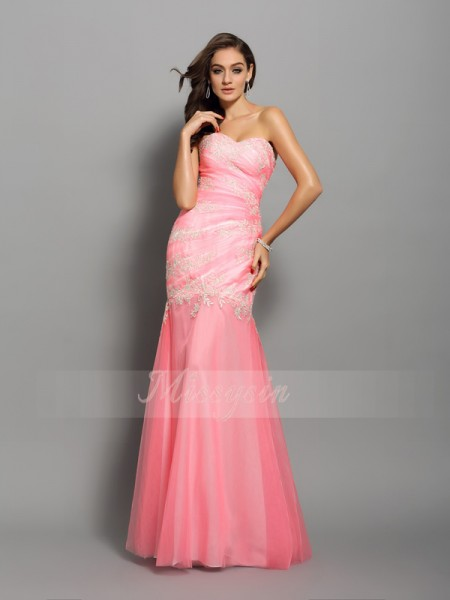 Trumpet/Mermaid Sleeveless Sweetheart Beading,Applique Floor-Length Elastic Woven Satin Dresses