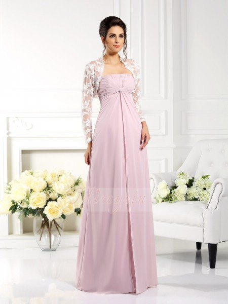 A-Line/Princess Sleeveless Strapless Floor-Length Chiffon Mother Of The Bride Dresses