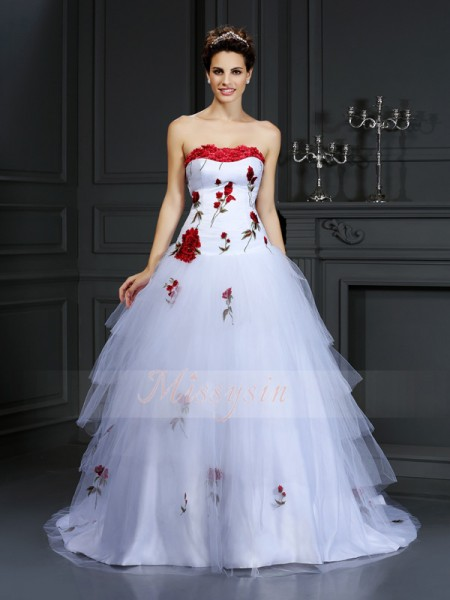 Ball Gown Sleeveless Strapless Hand-Made Flower Court Train Satin Wedding Dresses