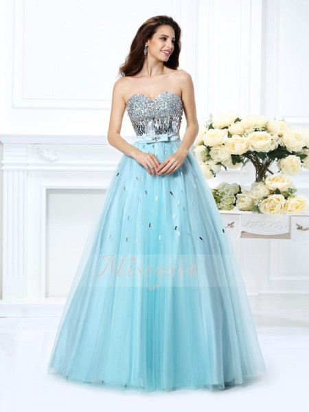 Ball Gown Sleeveless Sweetheart Beading,Paillette Floor-Length Satin Dresses