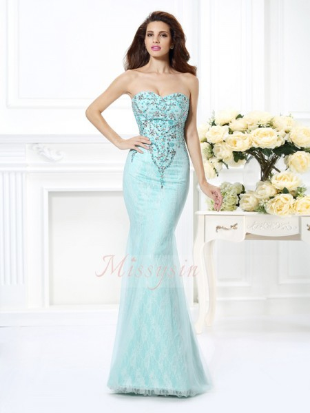 Trumpet/Mermaid Sleeveless Sweetheart Beading,Lace Floor-Length Net Dresses