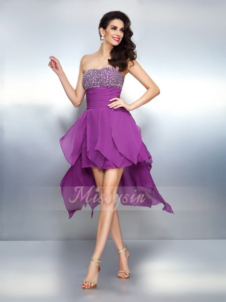 A-Line/Princess Sleeveless Strapless Beading Asymmetrical Chiffon Dresses