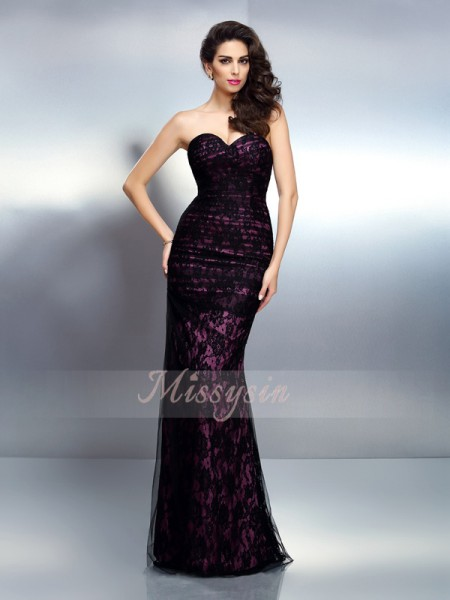 Trumpet/Mermaid Sleeveless Sweetheart Floor-Length Elastic Woven Satin Dresses