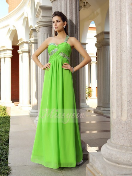 Sheath/Column Sleeveless One-Shoulder Beading Floor-Length Chiffon Dresses