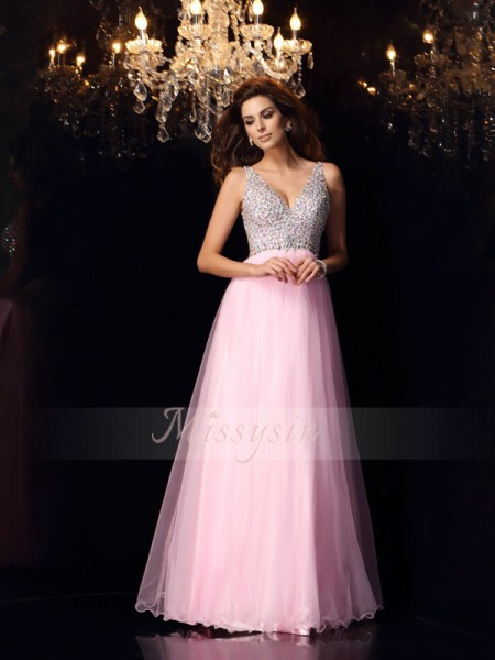 A-Line/Princess Sleeveless V-neck Ruffles Floor-Length Elastic Woven Satin Dresses