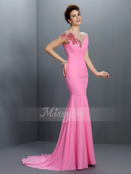 Trumpet/Mermaid Short Sleeves Bateau Beading Sweep/Brush Train Chiffon Dresses