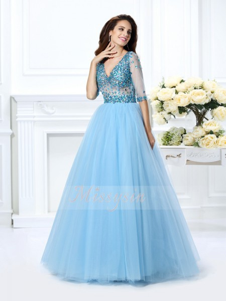 Ball Gown 1/2 Sleeves V-neck Beading Floor-Length Satin Dresses
