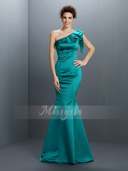 Trumpet/Mermaid Sleeveless One-Shoulder Floor-Length Satin Dresses