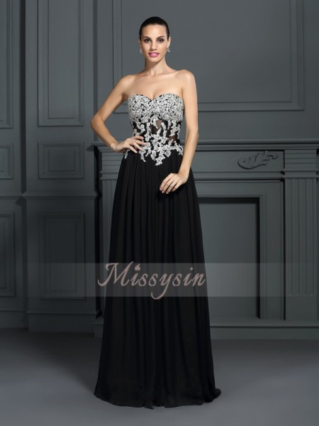 A-Line/Princess Sleeveless Sweetheart Applique Floor-Length Chiffon Dresses