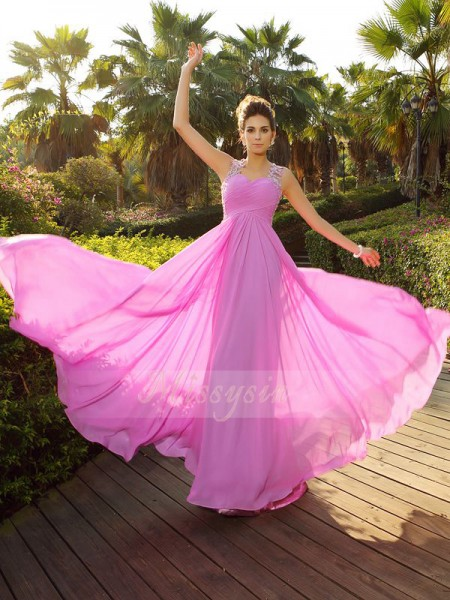 A-Line/Princess Sleeveless Straps Applique Sweep/Brush Train Chiffon Dresses