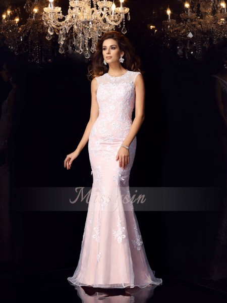 Trumpet/Mermaid Sleeveless Scoop Floor-Length Satin Dresses