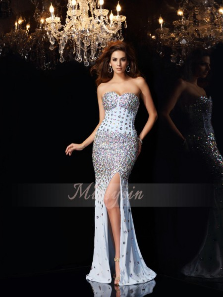 Trumpet/Mermaid Sleeveless Sweetheart Rhinestone Sweep/Brush Train Chiffon Dresses